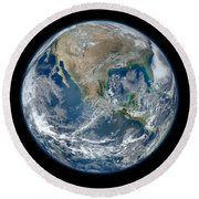 Blue Marble 2012 Planet Earth Round Beach Towel by Nikki Marie Smith