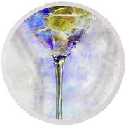 Blue Martini Round Beach Towel