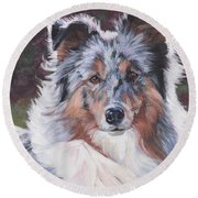 Blue Merle Sheltie Round Beach Towel