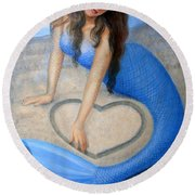 Blue Mermaid's Heart Round Beach Towel by Sue Halstenberg