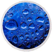 Blue Meteor Storm Round Beach Towel