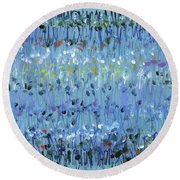 Blue Mirage Round Beach Towel by Lynne Taetzsch