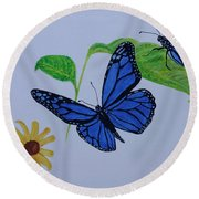 Blue Monarch Round Beach Towel