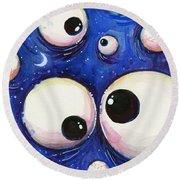 Blue Monster Eyes Round Beach Towel