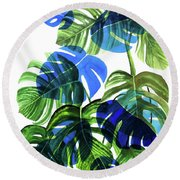 Blue Monstera Round Beach Towel by Ana Martinez