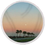 Blue Moon At Twilight Round Beach Towel by Deborah Lacoste