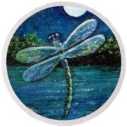 Round Beach Towel featuring the painting Blue Moon Dragonfly by Sandra Estes