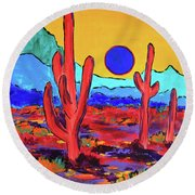 Round Beach Towel featuring the painting Blue Moon by Jeanette French