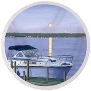 Round Beach Towel featuring the painting Blue Moon by Lynne Reichhart