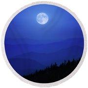 Blue Moon Over Smoky Mountains Round Beach Towel
