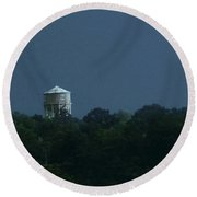 Blue Moon Over Zanesville Water Tower Round Beach Towel