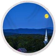 Blue Moon Rising Over Church Steeple Round Beach Towel