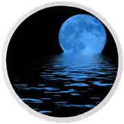 Blue Moon Round Beach Towel by Shane Bechler