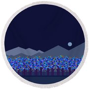 Blue Moon Round Beach Towel by Val Arie