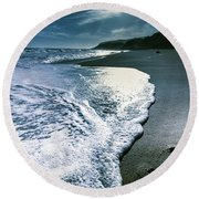 Round Beach Towel featuring the photograph Blue Moonlight Beach Landscape by Jorgo Photography - Wall Art Gallery