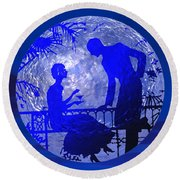 Blue Moonlight Lovers Round Beach Towel