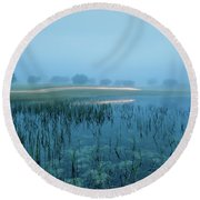 Blue Morning Flash Round Beach Towel