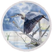 Blue Morning Flight Round Beach Towel