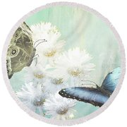 Blue Morpho Butterflies And White Gerbers Round Beach Towel