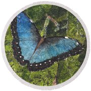 Blue Morpho Butterfly Batik Round Beach Towel