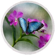 Blue Morpho With Orchids Round Beach Towel
