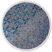 Blue Mosaic Round Beach Towel