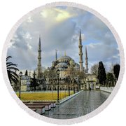 Blue Mosque Round Beach Towel