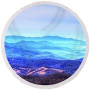 Blue Mountain Mist Round Beach Towel by Dale R Carlson