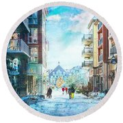 Blue Mountain Village, Ontario Round Beach Towel