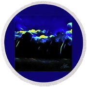 Round Beach Towel featuring the painting Blue Mountains by Joan Reese