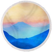 Blue Mountains Watercolour Round Beach Towel