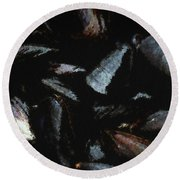 Blue Mussels Round Beach Towel