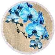 Blue Mystique Orchid Round Beach Towel by Byron Varvarigos