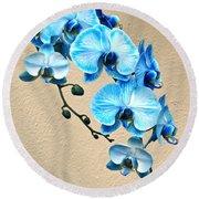 Blue Mystique Orchid Round Beach Towel