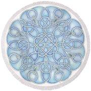 Blue Nautical Mandala 2 Round Beach Towel