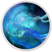 Blue Nebula Round Beach Towel