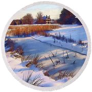 Blue Noon Round Beach Towel by Betsy Zimmerli