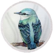 Blue Nuthatch Round Beach Towel