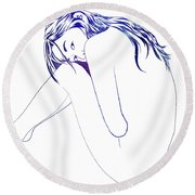 Blue Nymph Round Beach Towel