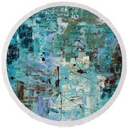 Round Beach Towel featuring the painting Blue Ocean - Abstract Art by Carmen Guedez