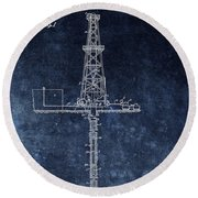 Blue Oil Rig Patent Design Round Beach Towel