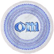 Round Beach Towel featuring the painting Blue Om Mandala by Tammy Wetzel