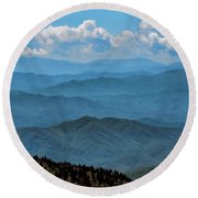 Blue On Blue - Great Smoky Mountains Round Beach Towel by Nikolyn McDonald