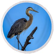 Blue On Blue Round Beach Towel by Marvin Spates
