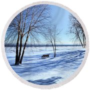 Round Beach Towel featuring the photograph Blue On Blue by Phil Koch