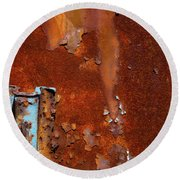 Round Beach Towel featuring the photograph Blue On Rust by Karol Livote
