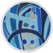 Round Beach Towel featuring the painting Blue On Silver by Ania M Milo