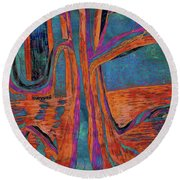Blue-orange Warm Dusk River Tree Round Beach Towel