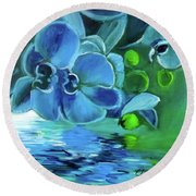 Blue Orchids Round Beach Towel by Jenny Lee