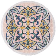 Blue Oriental Tile 01 Round Beach Towel